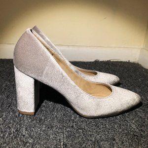 Velvet Silver Classic Heels